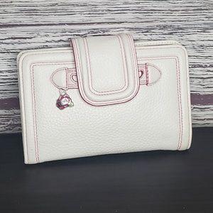 White with pink stitching Brighton wallet